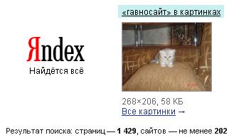 Гавносайт - рузультати пошуку гавносайтів у Яндексі